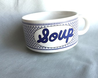 Blue Ceramic Soup Bowl // Ceramic Bowl // Blue Ceramic Bowl // Vintage Kitchen Decor // Vintage Soup Bowl // Retro Kitchen Decor