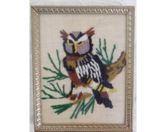 small owl crewel needlepoint picture