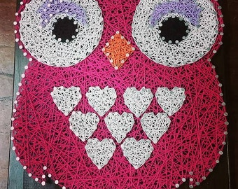 Owl String Art Wall Art Hoots Pink with White Hearts