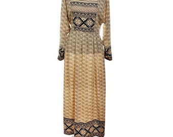 Print Beige and Black Casual Dress