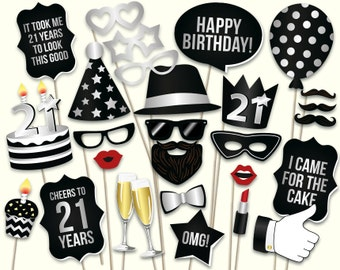 21st birthday photo booth props: printable PDF. Black and silver twenty first birthday party supplies. 21st birthday crown. Instant download