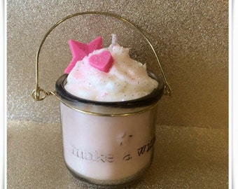 Small Make a Wish candle, made from eco friendly natural soy wax!