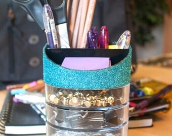 Turquoise Desk Organizer, Office Supplies, Glitter Office Supplies, Desk Organizer, Turquoise Classroom, Classroom Supplies, School Supplies