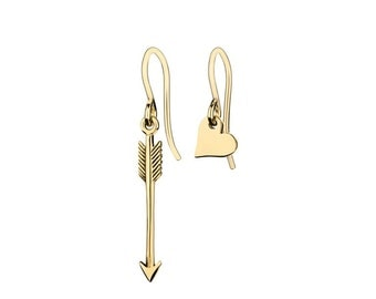 Mismatched Heart and Arrow Charm Earrings