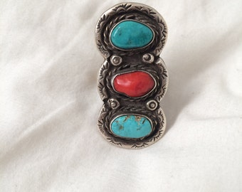 Southwest Native Navajo Turquoise and Coral Ring