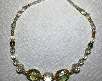 Crystal and Lt green Necklace