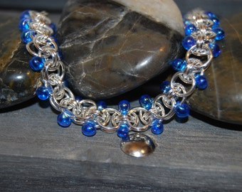 Captivating Sterling Silver Helm Weave Chain Mail bracelet / Anklet with Glass Beads