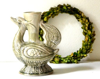 vintage green bird vase sculpture