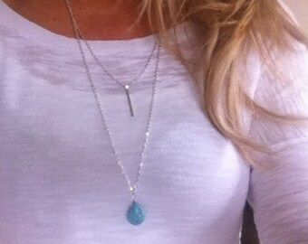 Silver Turquoise Double necklace