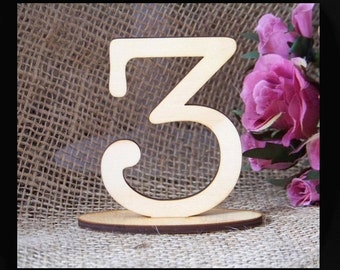 7.5cm/Wood/Ply/Wooden/Timber Table Number SETS, Wedding,Party,Restaurant Table No's Freestanding  by VividLaser-A