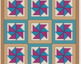 "Cross Stitch Pattern - Quilt Block - Pinwheel - ""Carnival"""