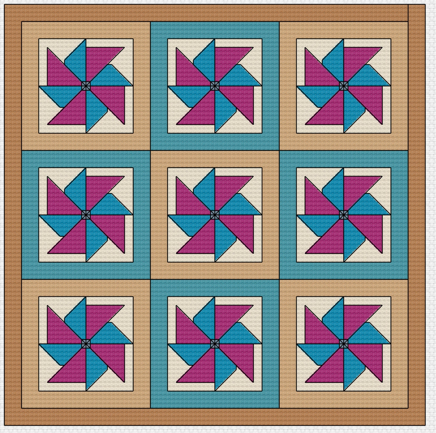 Quilt Patterns Cross Stitch : Cross Stitch Pattern Quilt Block Pinwheel