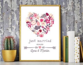 DIN A4 wedding day/anniversary art print, mural 'just married' print, gift wedding