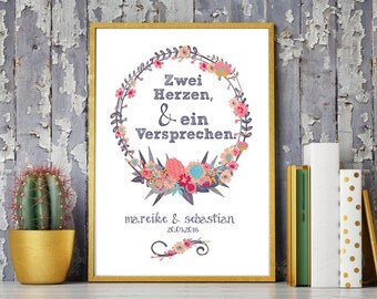 Wedding day art print, anniversary mural