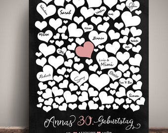 Guestbook POSTER birthday of hearts personalized DIN A3