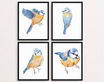 Bird Painting, Blue Tit Painting, Tit Watercolor Painting, Tit Print, Tit Wall Art, Tit Printable, Bird Nursery Decor, Bird Print Set, Birds