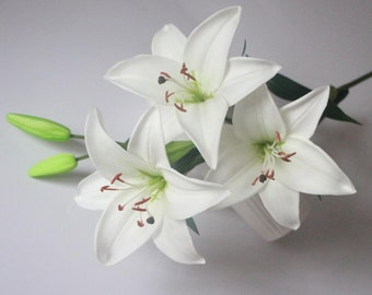 White lily flowers Artificial tiger lily real touch lily flowers for home or wedding wedding decoration