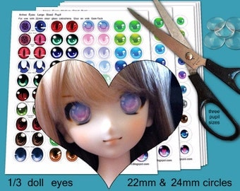40 Anime BJD eyes - 13mm, 22mm and 24mm - Digital Collage Sheets