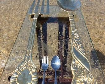 Giant cuttlery set spoon and fork set , brass spoon and fork copper spoon and fork set , spoon and fork large size , large size spoon  fork