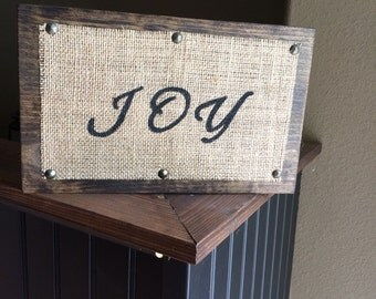 "Burlap ""JOY"" Sign"