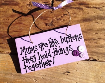 Handmade Mums buttons plaque sign. Great birthday gift present. Mothers day, Christmas keepsake.