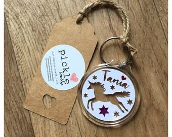 Personalised Unicorn Papercut Keyring, birthday gift, friendship gift