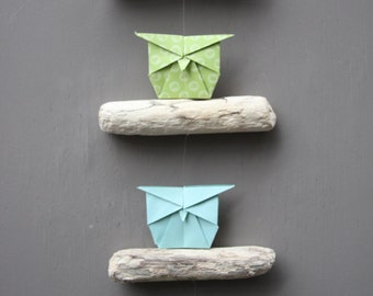Driftwood Mobile Origami Owl Chiyogami Green Blue Decor Decoration Garland beach ornament celebration