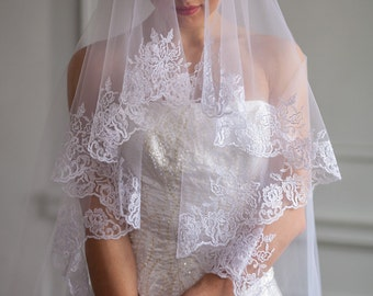 Wedding veil, embroidered wedding veil