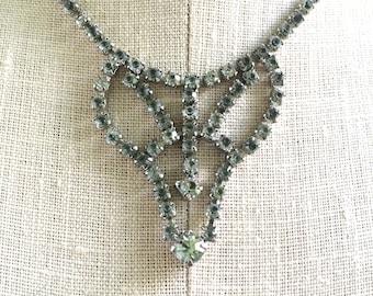 Rhinestone Necklace - Bridal Necklace - Vintage Formal Necklace - Vintage Hollywood Necklace - Crystal Necklace - Wedding Necklace