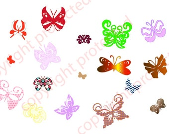 SVG Butterfly Files & Silhouette Cameo Butterfly Collection Design Files, Print and Cut