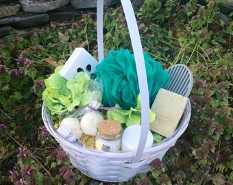 Floral Gift Basket, Organic Bath and Spa kit