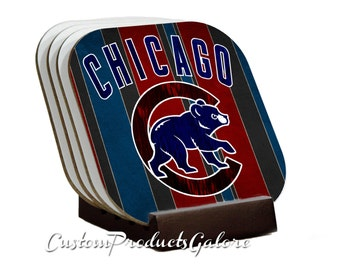 CHICAGO CUBS Coasters, Set of 4, INCLUDES Coaster Stand, Great Gift for the Baseball Fan