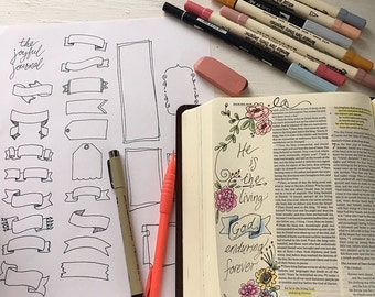 Bible Journaling Banners digital download