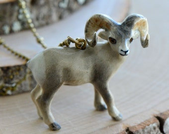 Hand Painted Porcelain Bighorn Sheep Necklace, Antique Bronze Chain, Vintage Style Mountain Ram, Ceramic Animal Pendant & Chain (CA272)
