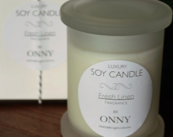 Small Soy Candle - Fresh Linen Black/White Collection