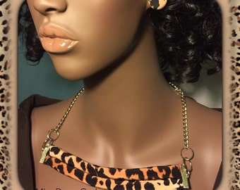 Leopard Print Fabric Necklace with Button Earrings
