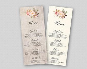 Boho Wedding Menu Template, Floral Wedding Menu Printable, Wedding Menu Cards, TWO BACKGROUNDS, Rustic Floral Boho Flowers Bouquet Peonies