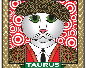 Astrology Cat Art: Taurus Cat Horoscope Digital File for T-shirts, Prints, Greeting Cards, Mugs and More! Taurus Cat Instant Download