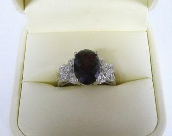 Samuel Benham BJC 14K White Gold Garnet and Diamonds Ring Size 7.25