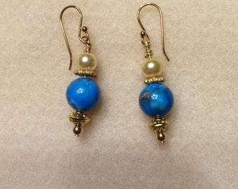 Aqua and gold dangle earrings