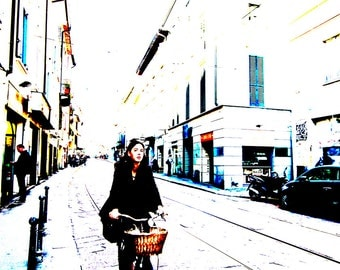 Girl On Her Bicycle In Rome