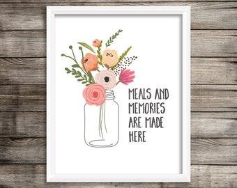 Farmhouse Kitchen - Farmhouse Decor - Mason Jar Print - Kitchen Print - Kitchen Wall Art - Instant Download - 8x10 - Kitchen Quote - Floral