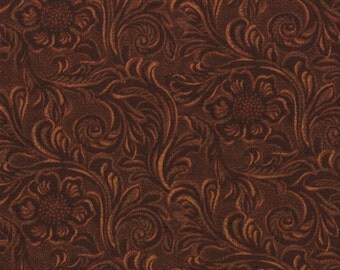 Western Basics BROWN Tooled Leather by Sara Khammash for Moda 100% Cotton #1121615