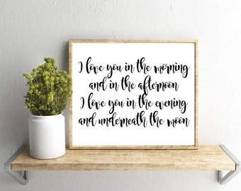 Printable Wall Art, I Love You Quote, Farmhouse, Home Decor, Instant Download