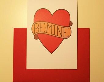 """Digitally Illustrated Tattooed Greetings Card - """"Be Mine"""""""