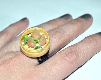 Dim sum ring, mini food, adjustable size ring.