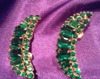 Vintage Green Glass Crescent Earrings