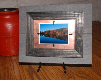Cedar and Copper Layered Picture Frame for one 3.5x5 Photo