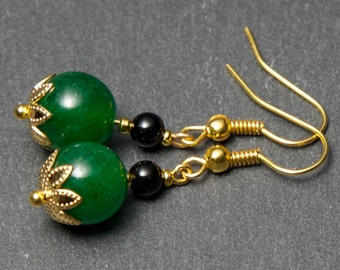 Green Jade Earrings - gold plated. Gemstone Earrings. Green Earrings. Jade Earrings.