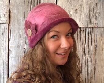 Clare de Lune - cloche hat, felt hat, wet felted hat, pinkhat, pink cloche, felt hat for women, felt flower, vintage button, flapper hat